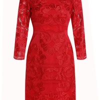 Red Long Sleeve Embroidered Sheath Mini Pencil Dress