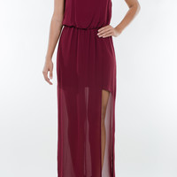 Wine Slit Sleeveless Maxi Dress