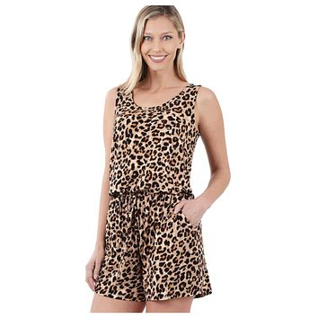Adorable Leopard Print Sleeveless Tan Brown Romper
