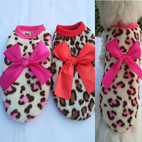 Animal Leopard Print Clothing Warm Fleece Pet Clothes Teddy for Puppy Dog 3C