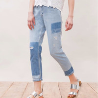 Women's High Waist Casual Frame Denim with Pockets Long Retro Patch Jeans Pants Holes Trousers