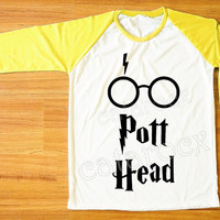 DESIGN 3 -- Pott Head T-Shirt Harry Potter Shirt Hogwarts Shirt Raglan Yellow Sleeve Women Shirt Men Shirt Unisex Shirt Baseball Shirt S,M,L