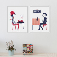 Modern Minimalist French Boy Girl Love A4 Romantic Art Print Poster Abstract Hipster Wall Picture Canvas Painting Cafe Home Deco