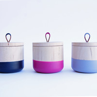Small Wooden Canister, choose your favorite Fall | Winter Colors