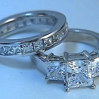 2.12ct G-SI2 Princess Cut Diamond Engagement Ring Platinum 900,000 GIA certified Diamonds JEWELFORME BLUE