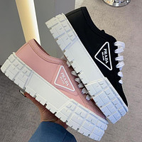 Prada New Canvas Embroidered Platform Shoes Women's Triangle Logo Casual Shoes