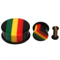 Rasta Single Flared Acrylic Plugs with O-Rings - Sold as a Pair