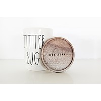 Rae Dunn Limited Edition Coaster Cap Elongated Mug JITTER BUG - Only 4 available!