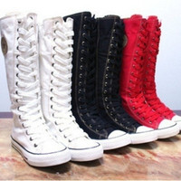 Women's Ladies Girls Gothic Punk Emo Rock Laces Up Knee High Boots Shoes Sneaker