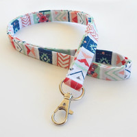 Tribal Lanyard / Tribal Print / Boho Keychain / Floral Tribal / Key Lanyard / ID Badge Holder / Fabric Lanyard / White Tribal / Chevron