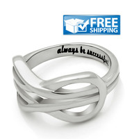"""Unisex Friend Gift - Double Infinity Purity Ring Engraved on Inside with """"Always Be Successful"""", Sizes 6 to 9"""