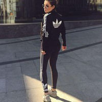 Adidas Zip Cardigan Jacket Coat Sweatshirt / Running Leggings Sweatpants Two pieces