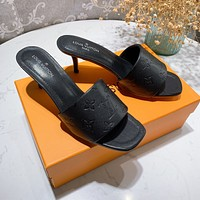 LV Louis Vuitton New Spring Who Embossed Letters Ladies High Heels Sandals Slippers Shoes Black