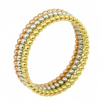 Set of 3 - Sterling Silver, Gold, Rose Gold Beaded Stackable Rings