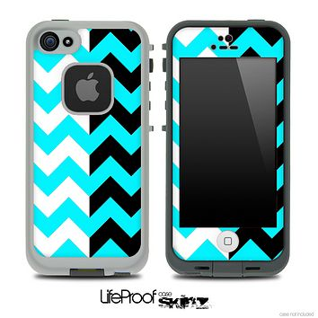 Two Toned Black White and Turquoise Chevron Skin for the iPhone 5 or 4/4s LifeProof Case