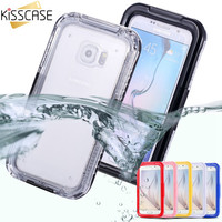 KISSCASE 6 S6 Edge Waterproof Transparent Case for Samsung Galaxy S6 S6 Edge Clear Diving Soft Back Strap Hard Phone Cover