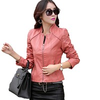 5XL plus size leather clothing women new spring and autumn leather coats female leather jacket mandarin collar jackets and coats