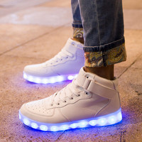 LED Light-up Midtop Shoes: White hightop sneaker with color changing, festivals, edc, ultra, raves, burning man, light up glowing, halloween
