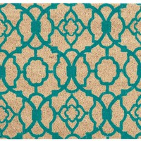 Waverly Greetings Lovely Lattice Aqua Doormat by Nourison