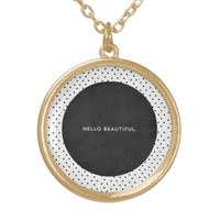 Hello Beautiful - Black and dots Round Pendant Necklace