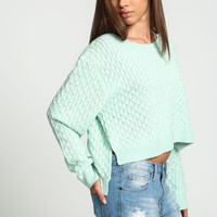 Mint Honeycomb Knit Cropped Sweater