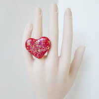 Valentines Day Red Heart Adjustable Statement Ring Made of Fused Glass with Dichroic Glass Flakes, Cute Kawaii Jewelry, Unique Glass Jewelry