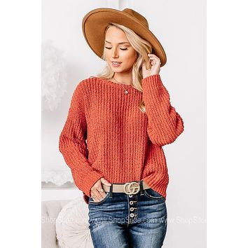 It's That Time Chenille Knit Sweater   Chili
