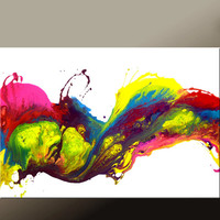 Abstract Canvas Art Painting 36x24 Original Contemporary Paintings by Destiny Womack - dWo - Rainbow Song