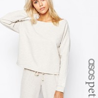 ASOS PETITE LOUNGE Oatmeal Marl Jersey Off the Shoulder Sweatshirt