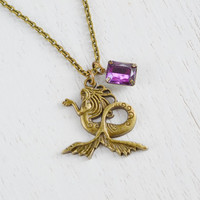 Lovely Mermaid Necklace Bejeweled Pendant,Mermaid Jewelry,Nautical Fashion,Purple Bejeweled Necklace,Gift for her,Fairy Tale,Charm Necklace