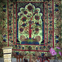 Green tree of life forest nature hippie boho tapestry cotton bed cover