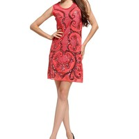 MapleClan BlingBling Sequins Sweetheart Emroidery Dress Red