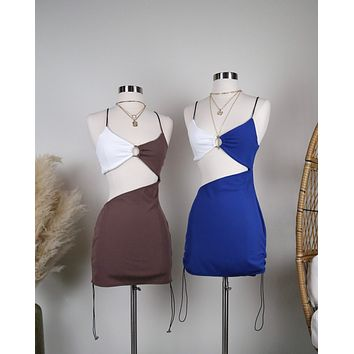 Ribbed Color block Mini Dress with Mid Cutout in More Colors
