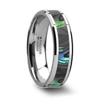 Tungsten Promise Ring with Mother of Pearl Inlay - 6 mm