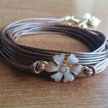 Wrap Leather Bracelet, Brown Leather Bracelet, Autumn Jewellery, Fashionable Jewellery, Stylish, Mother Of Pearl, Flower Charm, Gift,  Boho,