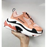 Onewel Balenciaga Triple S Low Top Sneaker Women Men Classic Shoes Orange white black line