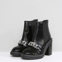 ASOS EREN Leather Chain Ankle Boots at asos.com