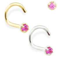 14K real gold (Nickel free) nose screw with 1.5mm Ruby gem