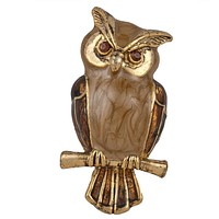 Owl Perched On A Branch Gold Bar Pin