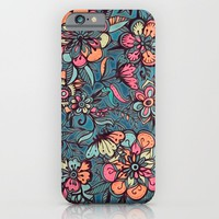 Sweet Spring Floral - melon pink, butterscotch & teal iPhone & iPod Case by Micklyn