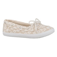 Cassie Embroidered Boat Shoe - Beige