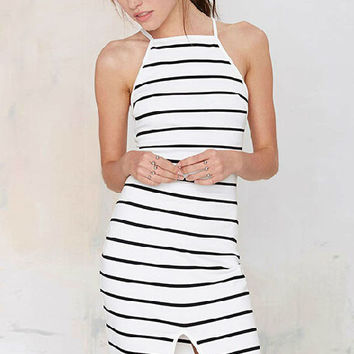 White Striped Sleeveless Bodycon Dress