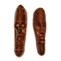 """2 Pieces of 12"""" African Gabon Cameroon Wood Fang Mask in Brown"""