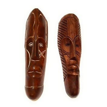 """🎁 ONE DAY SALE 12"""" - 13"""" African Gabon Cameroon Wood Fang Mask in Brown"""