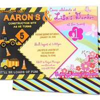 Dual Birthday Invitation - Construction Garden Invitations - Brother Sister Birthday Party Inties - Siblings Birthday Double Birthday Party