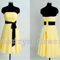 Strapless Lace-up Waistband A-Line Short Bridesmaid Dress, Chiffon Formal Evening Party Prom Dress New Homecoming Dress