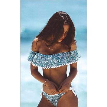 Off Shoulder Push Up Bikini Set Vintage Ruffled Swimsuit Swmwear