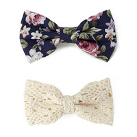 FOREVER 21 Laurel Canyon Hair Clip Set Cream/Navy One