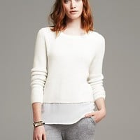 Banana Republic Womens Shaker Stitch Layered Pullover