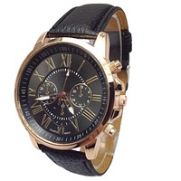 Novel design New Luxury Fashion Faux Leather Men Blue Ray Glass Quartz Analog Watches Casual Cool Watch Brand Men Watches P8